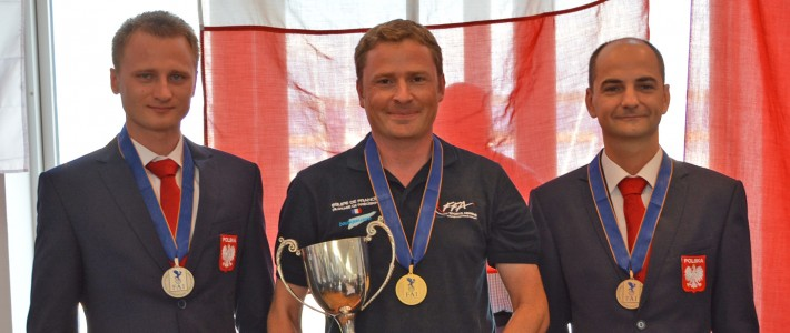 The winners of the individual WPFC 2015. Seen from left, Marcin Skalik (2) of Poland, Damien Vadon of France, and  Boleslaw Radomski of Poland.