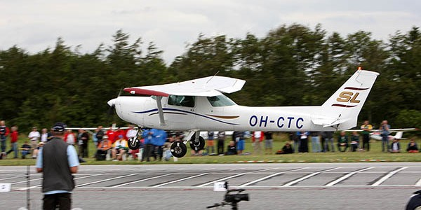 Seen here is one of the 4 landings that finally secured the victory for Mauri Halinen of Finland - flying a Cessna 150 - OH-CTC.